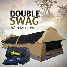 Double Dome SWAG Camping Canvas Tent SET with Mattress & 2 Pillows - BEIGE