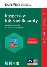 Kaspersky Internet Security 2017 5 Device 1 Year- physical/digital key instock