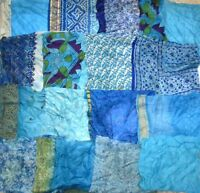 LOT PURE SILK Antique Vintage Sari Fabrics REMNANT 20 pcs 5 inch SQUARES #ABDBK
