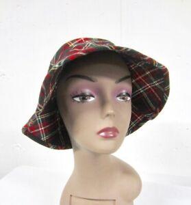 Vintage BANANA REPUBLIC  Red Tartan Plaid Wool  BUCKET Bin HAT Sz Small