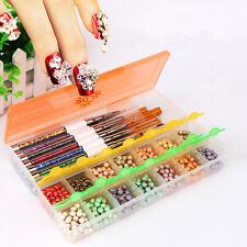 Empty Storage Box Case Compartments For Acrylic Nail Art Gems Rhinestone & Brush
