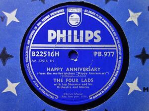 FOUR LADS - Happy Anniversary / Who Do You Think You Are? 78 rpm disc (A++ 1959)