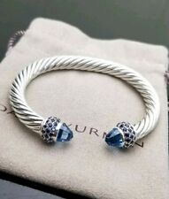 David Yurman Sterling Silver 7mm Cable Candy Blue Topaz and Sapphires Bracelet
