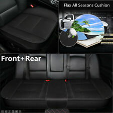 3pc Black Front+Rear Flax Car Seat Cushion Cover 3D Full Surrounded Four Seasons