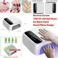 White 72W Cordless Wireless Rechargeable LED/UV Nail Lamp Gel Polish Nail Dryer