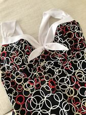 Red White Khaki Circles on Black 1940's Styled CATALINA One-Piece Swimsuit 1X