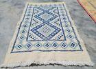 Hand Knotted Vintage Morocco Sumouk Kilim Kilm Wool Area Rug 3 x 2 Ft