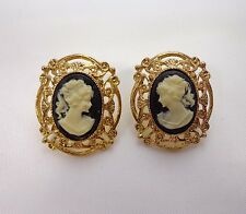 Downton Abbey Style Earrings Cameo Black White Gold Tone Pierced 835