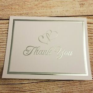 Wilton Silver Foil Double Heart Thank You Cards Wedding Bridal 1X Set Of 48