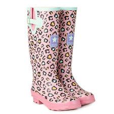 Ladies Pink Leopard Print Matt Wellies Slip On Wellington Boots Sizes 4 to 8