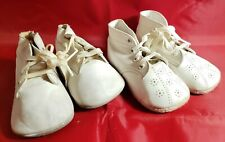 VINTAGE LEATHER BAY SHOES LOT OF 2 SOFT SOLE WHITE INFANT/BABY SHOES CHRISTENING