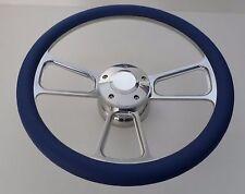 "Royal Blue Half Wrap 14"" BILLET Steering wheel kit with Hub adaptor +Horn Button"