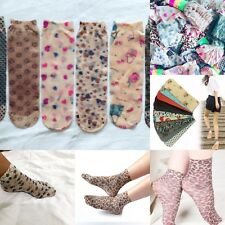 Women's Ultra Thin Printed Stocking Ankle Socks (4 Pairs Pack)