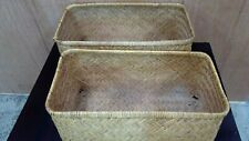 ANTIQUE WOVEN CANE TRAVEL CHEST MOSES BASKET VINTAGE CAR CHEST STORAGE CASE #2