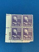 1938 Thomas Jefferson Three Cent Stamp Plate Block Of 4 U.S Postage