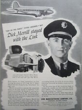 10/1945 PUB LINK TRAINING TRAINER EASTERN AIR LINES CAPTAIN DICK MERRILL DC AD