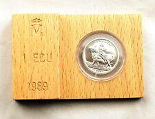 España-1 Ecu 1989. Carlos V. FDC. Plata 6,72 g. Estuche y certificado