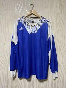 PUMA 90s FOOTBALL SHIRT SOCCER JERSEY LONG SLEEVE BLUE sz XL