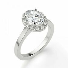 1 Ct Oval Cut D/vvs1 Solid 14k White Gold Halo Engagement Ring