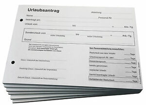 Block Urlaub Antrag - Urlaubsantrag SD  3-fach DIN A5 gelocht (22239)
