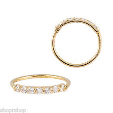 14k Yellow Gold Nose Hoop 20G 5/16 8mm 7 Hand Set  - Prong Set 1.5MM Clear CZ
