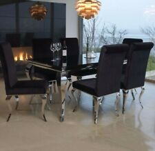 Louis 160cm Black Glass With Silver Legs Dining Table With 6 Chairs