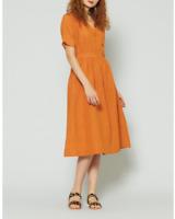 🔶🔸🔹Gorman Organic Orange Brown Wrap Linen Day Dress Size 14🔶🔸🔹