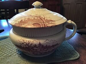 Vintage Antique Iowa  Ironstone Chamber Pot Brown Transfer House & River Scene
