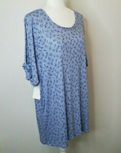 Woman Within Top Size 22/24 1X Blue Floral Cutout Twist Knot Short Sleeves NWT