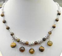 LOVELY Women Tibetan Silver Tiger's Eye Pendant Necklace Costume Jewellery