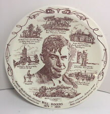 """Will Rogers 10.75"""" Collectable Plate By Vernon Kilns USA"""