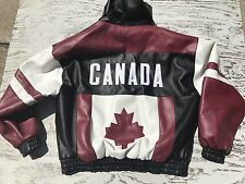 Canada Weather Gear Hooded Synthetic Leather Jacket Maple Leaf Flag XL