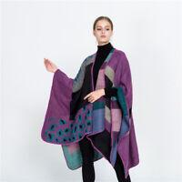 UK Ladies Scarves Poncho Wool Blend Warm Cape Wrap Shawl Cardigan Coat Top Cape