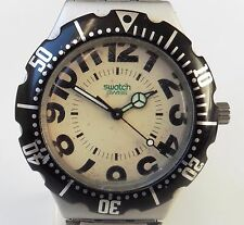 Gents Swiss 1995 YDS1004 Big Time Swatch Irony Scuba Bracelet Watch Working