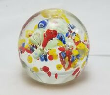 VINTAGE CONFETTI ART GLASS PAPERWEIGHT CONTROLLED BUBBLES RED YELLOW BLUE GREEN