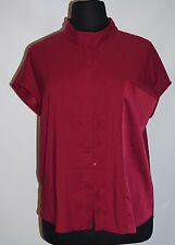 prive Dark Red Rose Satin Hidden Button-Front Sleeveless Top Blouse Large L