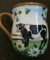 Susan Winget Mug with Country Cow and Daisies 16 oz Coffee Cup Cracker Barrel