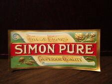 Vintage Cigar Label Box Art Original - SIMON PURE  These Cigars Superior Quality