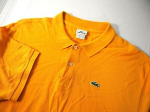 Lacoste Mens Golf Polo Shirt 9 4XL Solid Yellow Knit Short Sleeve 100% Cotton