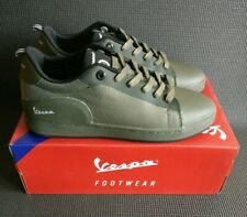 VESPA FRECCIA Mesh Low Laced Trainers Mens Army Khaki Green Nylon Casual UK9EU43