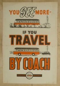 """ASSOCIATED MOTORWAYS u/d c1950s ~ SMALL POSTER """" TRAVEL BY COACH """""""