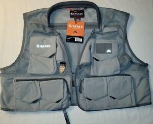 Simms Headwaters Pro Mesh Fishing Vest 20 Pockets & Rod Holder Gray FREE SHIP!!