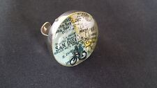 San Diego Bicycle Custom Ring Silver Tone 3d Bike rider Signed Christian?