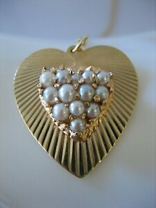 """VINTAGE 14K SOLID YELLOW GOLD PAVE PEARL HEART 18"""" CHAIN PENDANT NECKLACE"""