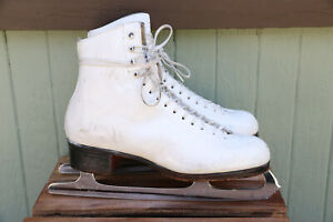 Royal Riedel Red Wing Prl Model White Leather Figure Skating Skates MK 900B 7.5