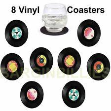 New Vintage Vinyl Record CD Coasters Set of 8 Table Bar Drinks Mats Retro Diner