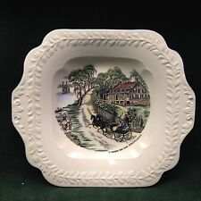 "Adams China England Handled Serving Dish Currier ""A home on the Mississippi"""