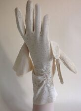 Vintage 1950s Gloves Nylon Simplex Ivory Gathered Evening Church Approx Size 7