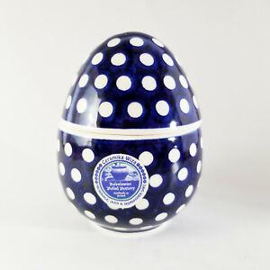 """Boleslawiec Polish Pottery Egg Navy Blue Polka Dot 5.25"""" NEW Poland"""