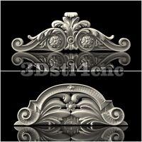 2 3D STL Models Crown Decor Set for CNC Router Carving Machine Artcam aspire